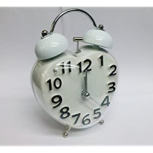 Buy India White Double Metal Bell Analog Alarm Clock Battery Operated For Home Office Hotel Bedroom (Shapes May Vary)