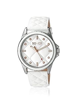 SO&CO Women's 5201.1 SoHo White/White Leather Watch