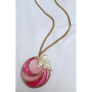 No Strings Attached Pink Stained Glass Art Autumn Gold Leaf Necklace