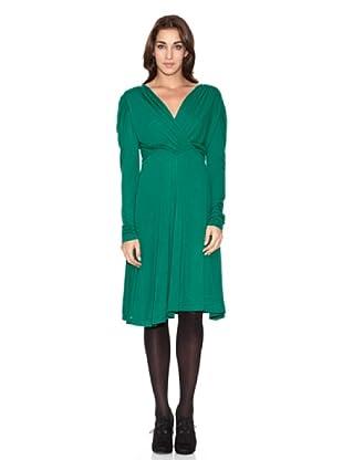 SIYU Vestido Básico Escote Cruzado (Verde)