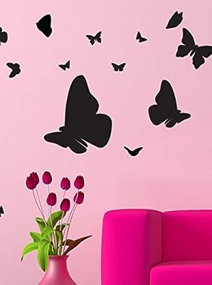 Ambiance Live Wandtattoo Cloud of butterflies schwarz