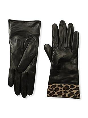 Portolano Women's Cashmere-Lined Leather Glove with Haircalf Cuff (Black/Beige Congo)