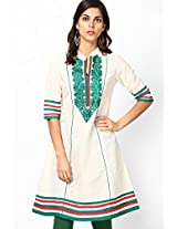 3/4Th Sleeve Cream Embroidered Kurta