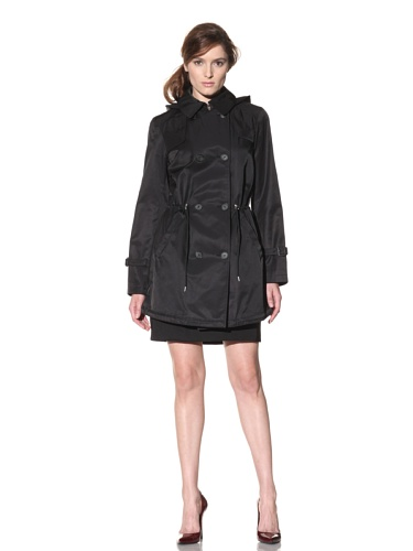 Hilary Radley Women's Double-Breasted Anorak with Hood (Black)