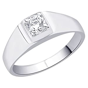 Peora Valentine Sterling Silver Rhodium Solitaire Ring for Men with Cubic Zircon in Square Frame (PR3040-8)