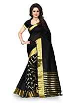 Shree Sanskruti Self Design Tassar Silk Black Color Saree For Women With Blouse Piece