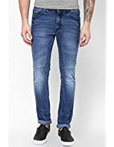 Blue Solid Skinny Fit Jeans John Players