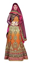 Navyata Women's Net Semi-Stitched Lehenga Choli (1805 B_Orange_Free Size)