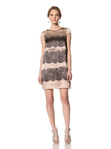 Les Copains Women's White Label Lace Print Dress (Blush/Asphalt)