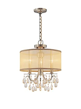Gold Coast Lighting Hampton Collection Oyster Crystal Chandelier, Antiqued Brass, 3-Light