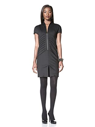 Catherine Maladrino Women's Cap Sleeve Front Ruched Dress (Noir)
