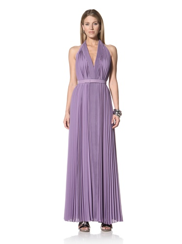 Halston Heritage Women's Pleated V-Neck Gown with Self Belt (Violet)