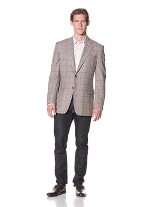 Joseph Abboud Men's Windowpane 2-Button Collar Sportcoat (Light Brown)