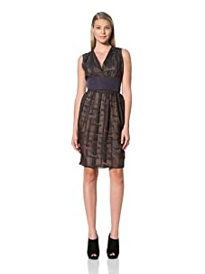 MARTIN GRANT Women's Printed Dress with Wide Waistband (Black)
