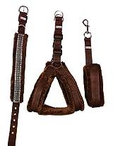 Petshop7 Nylon Brown fur 1 Inch Medium Dog Harness, Collar & Leash