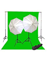 Cowboystudio Photography 10 X 20ft Chromakey Green Screen with Photography and Video Lighting Background System with Case and 800w Continuous Lighting Kit