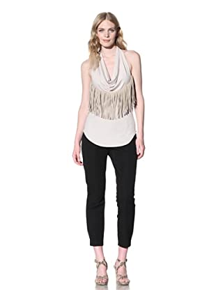 Iron Women's Knit Top with Suede Fringe (Biscuit)