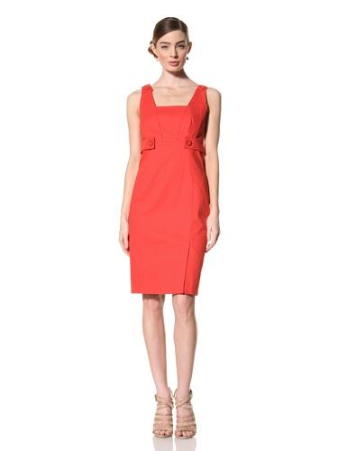 Magaschoni Women's Sleeveless Square Neck Dress (Blood Orange)