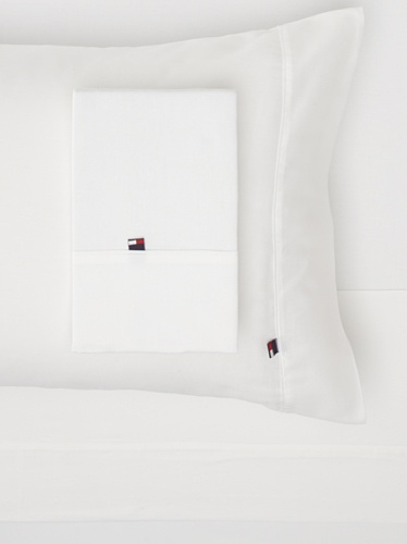 Tommy Hilfiger TH T300 Solid Sheet Set (White)
