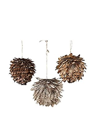 Sage & Co. Set of 3 Feather Ball Ornaments