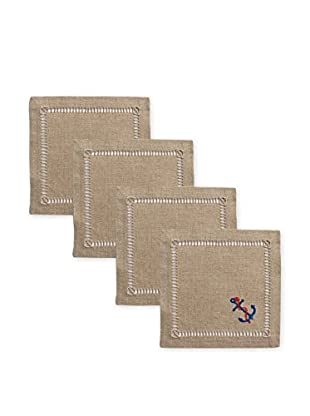 Henry Handwork Set of 4 Anchor & Rope Embroidered Cocktail Napkins, Natural