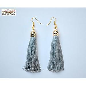 Under the Feather Tassel Earrings- Grey