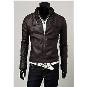 New Hot`Men'S Slim Top Designed Sexy Pu Leather Short Jacket Coat 3Color/4 Size