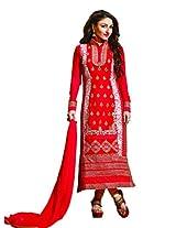Red Colour Faux Net Georgette Semi Party Wear Heavy Zari Work Churidar Suit 1319
