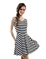 Miss Chase Women's Striped Sleeveless Skater Dress