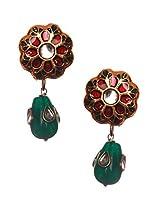 Vidhi'S Two In One Green Kundan Meena with kundan green drop Earrings For Women And Girls