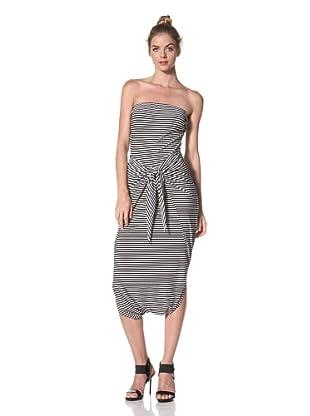 Norma Kamali Women's Strapless Wrap and Tie Dress (Black/White Stripe)