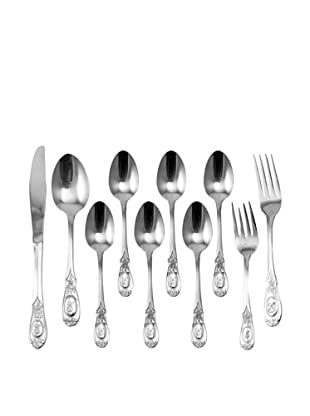 Vintage 10-Piece Flatware Set with English Rose Detail, c.1950s