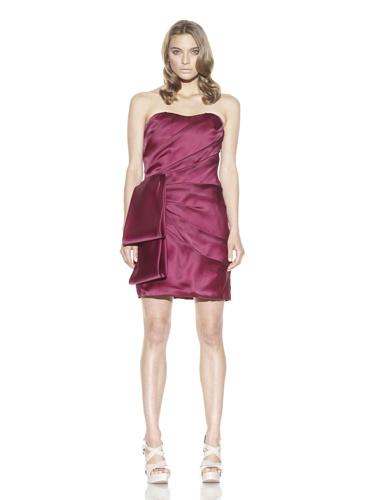 Christian Siriano Women's Silk Looped Sash Cocktail Dress (Fuchsia)