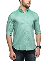 Zovi Cotton Slim Fit Casual Green Solid Shirt with Pocket(11961903101_Small)