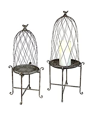 Melrose Set of 2 Birdcage Lanterns on Stands, Grey