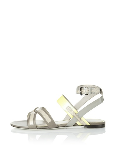 JASON WU Women's Carey Flat Sandal (Grey/Citron)