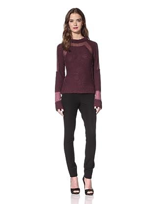 NINA RICCI Women's Long Sleeve Chiffon Panel Sweater (Prune Multi)
