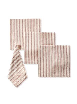 French Laundry Set of 4 Ticking Stripe Napkins, Red