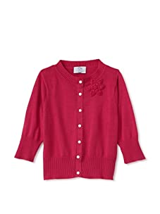 Baby CZ Girl's Cropped Cardigan with Orchid Bouquet (Magenta)