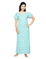SOULEMO 208B L SKYBLUE&WHT HEAVY COTTON NIGHT WEAR, NIGHTY, COTTON NIGHTY WITH EMBROIDERY
