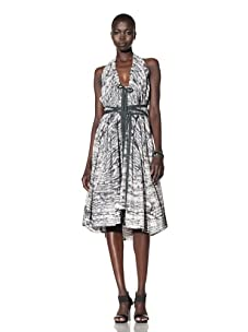 L.A.M.B. Women's Halter Printed Dress (Snow White/Medium Grey/Black)