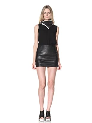 Ann Demeulemeester Women's Leather Double Button Skirt (Black)