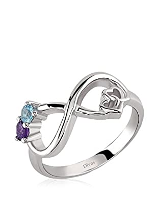 Divas Diamond Anillo Blue Topaz And Amethyst Two Heart Infinity Ring