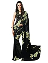 Black Color Georgette Printed Saree with Blouse 7005