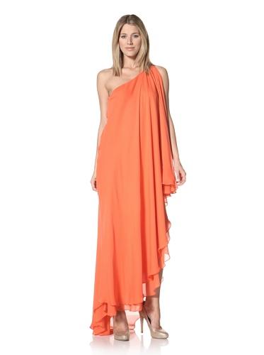 Halston Heritage Women's One-Shoulder Cascade Gown (Tangelo)