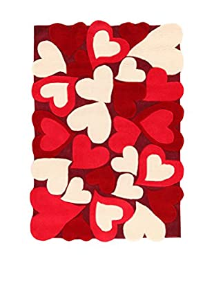 ABC Tappeti Teppich Hearts rot/beige 115 x 168 cm