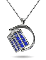Famous Doctor Who Rotating Police Box Blue Necklace By Via Mazzini
