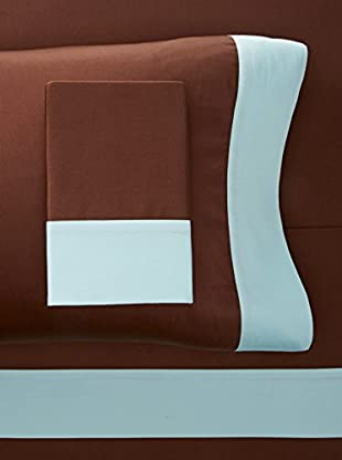 Westport Linens 300 TC Framed Border Sheet Set (Aqua/Chocolate)