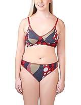 Glus Women's Polka Fashion Wire Free Bra And String Bikini Panty , Cup Size - B (36, Red)