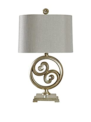 StyleCraft Round Disk Open Heart 1-Light Table Lamp, Champagne Silver